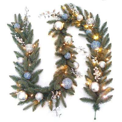 9 ft. Pre-Lit LED Decorated Blue Spruce Artificial Garland