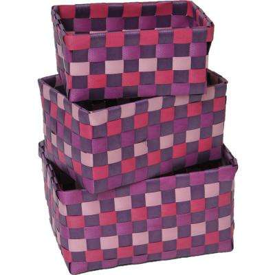7.8 in. L x 5.3 in. W x 4.2 in. H Checkered Woven Strap Storage Baskets Totes Purple (Set of 3)