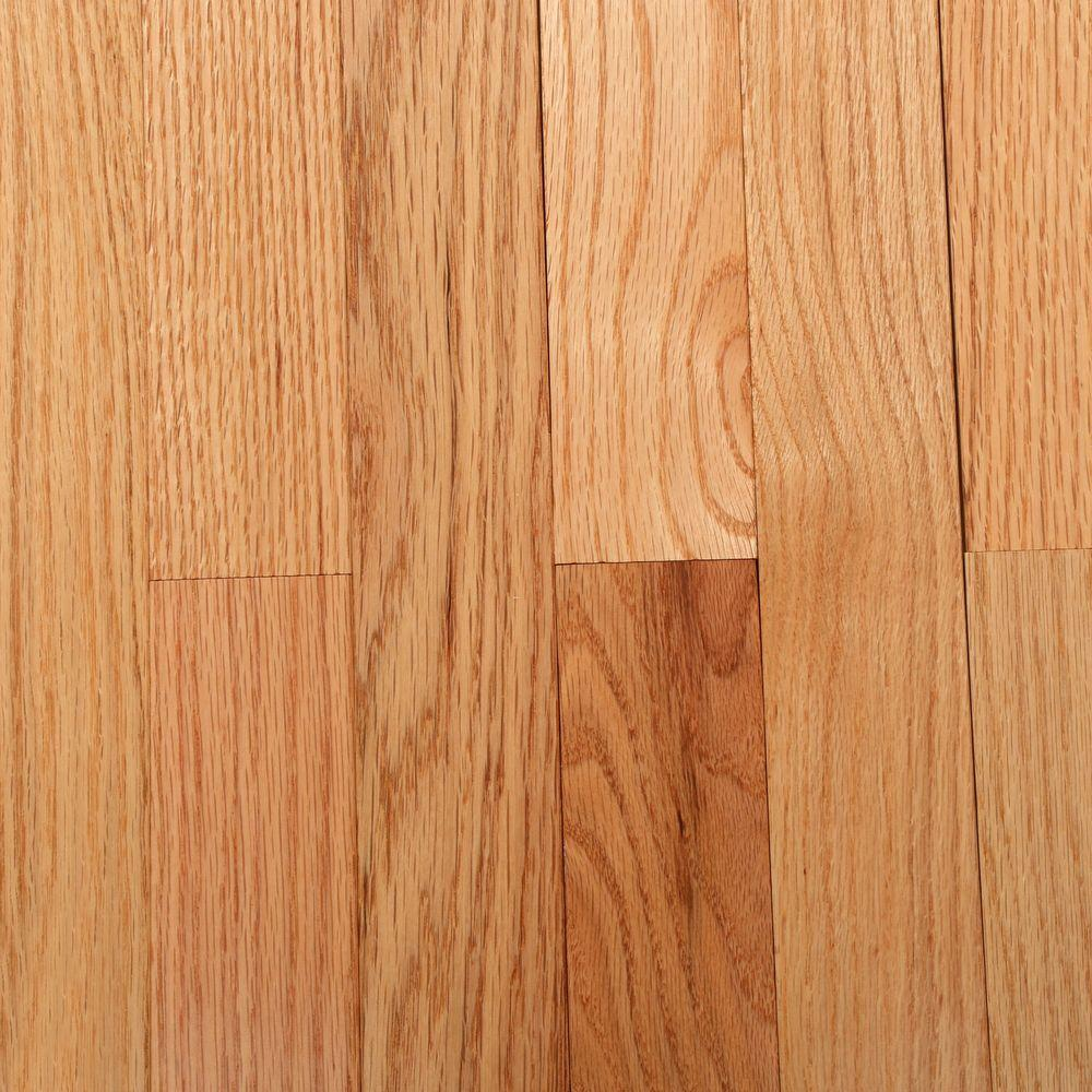 Bruce natural oak 3 4 in thick x 2 1 4 in wide x varying for Unfinished wood flooring