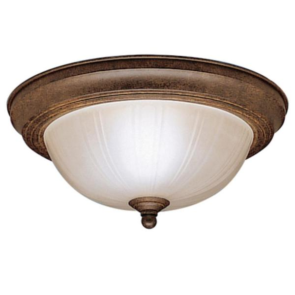 11.5 in. 2-Light Tannery Bronze Flush Mount Ceiling Light with Stain Etched Glass