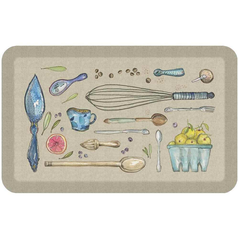20 in. x 32 in. Designer Comfort Kitchen Mat Kitchen Tools Warm Stone