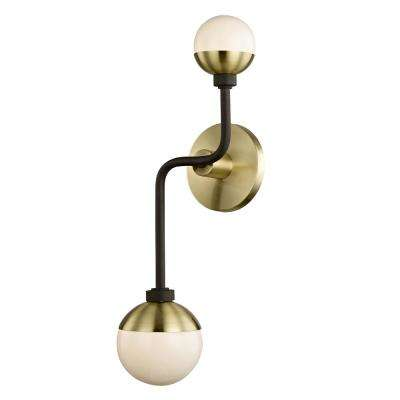 Hipster 2-Light Bronze/Brass Up and Down Wall Sconce with Glass Shade