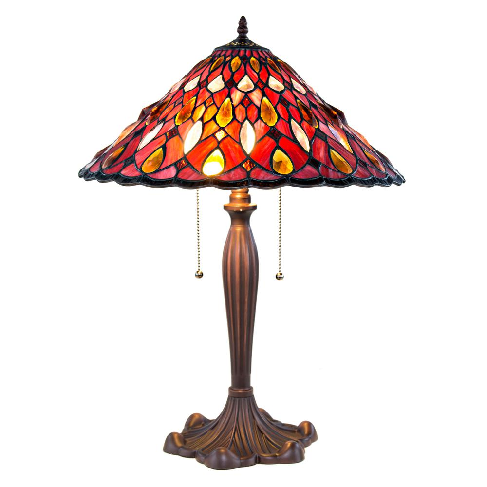 Red Chandelier Table Lamp: River Of Goods 24 In. Red Table Lamp With Stained Glass