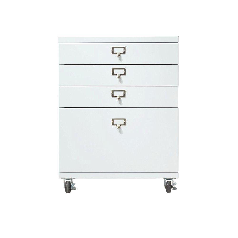 Becker 4-Drawer Metal Cart in White