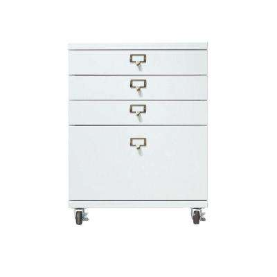 Becker 4-Drawer Metal Cart in White