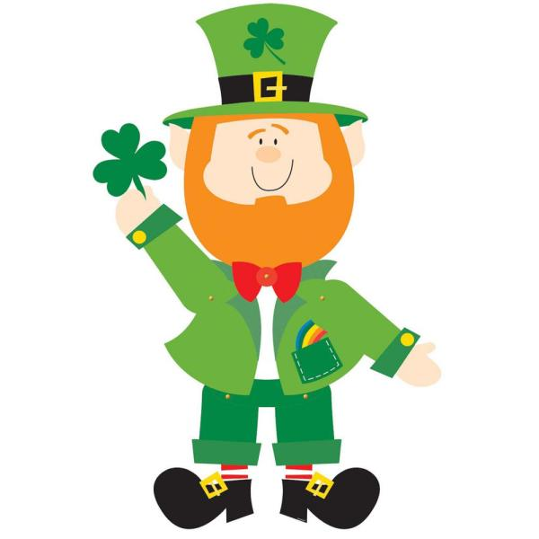 35 in. St. Patrick's Day Paper Jointed Leprechaun Cutout (4-Pack)