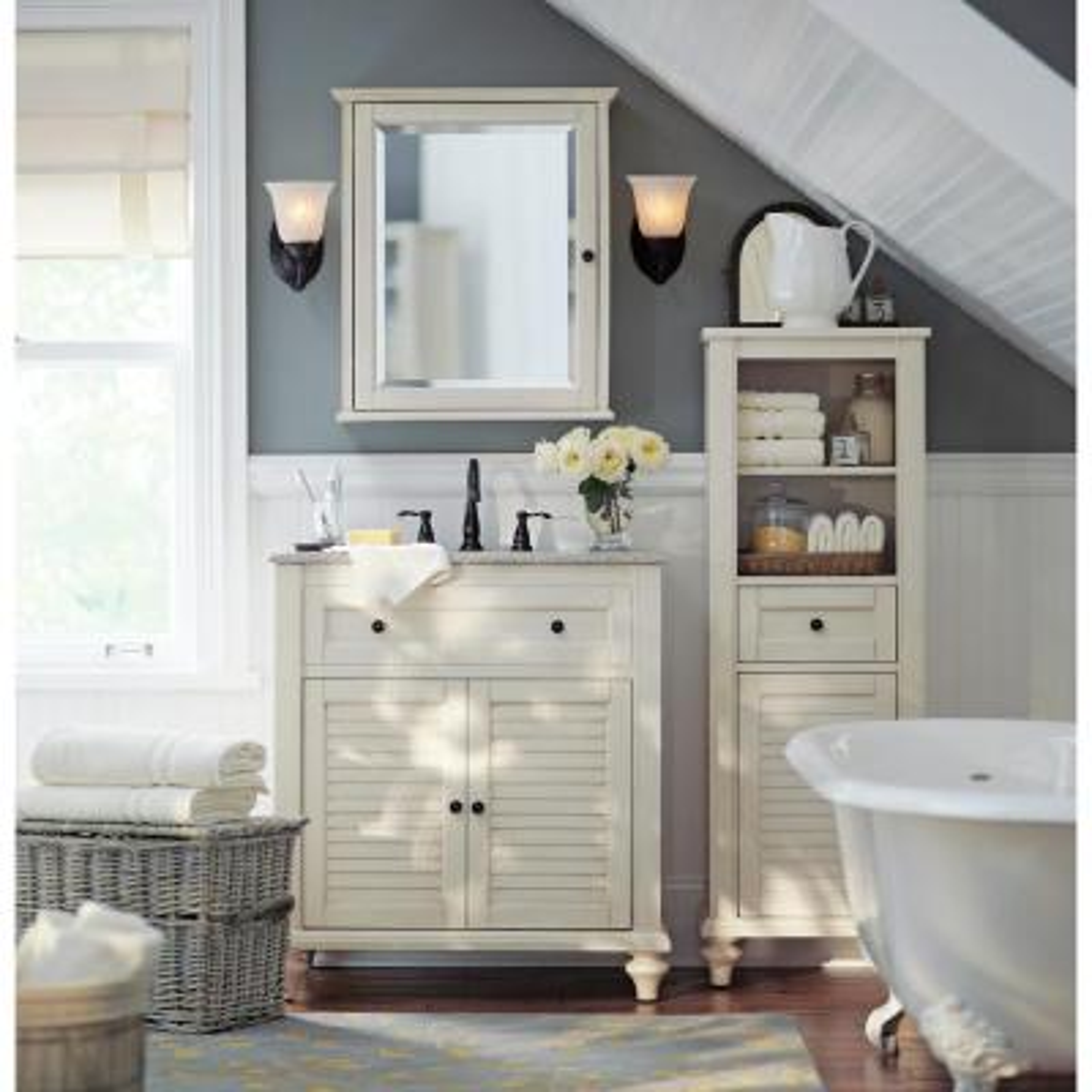 Hamilton Shutter 31 in. W x 22 in. D Bath Vanity in Ivory with Granite Vanity Top in Grey