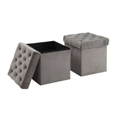 Toby Grey Foldable Storage Ottoman Cube Foot Rest (2-Pack)