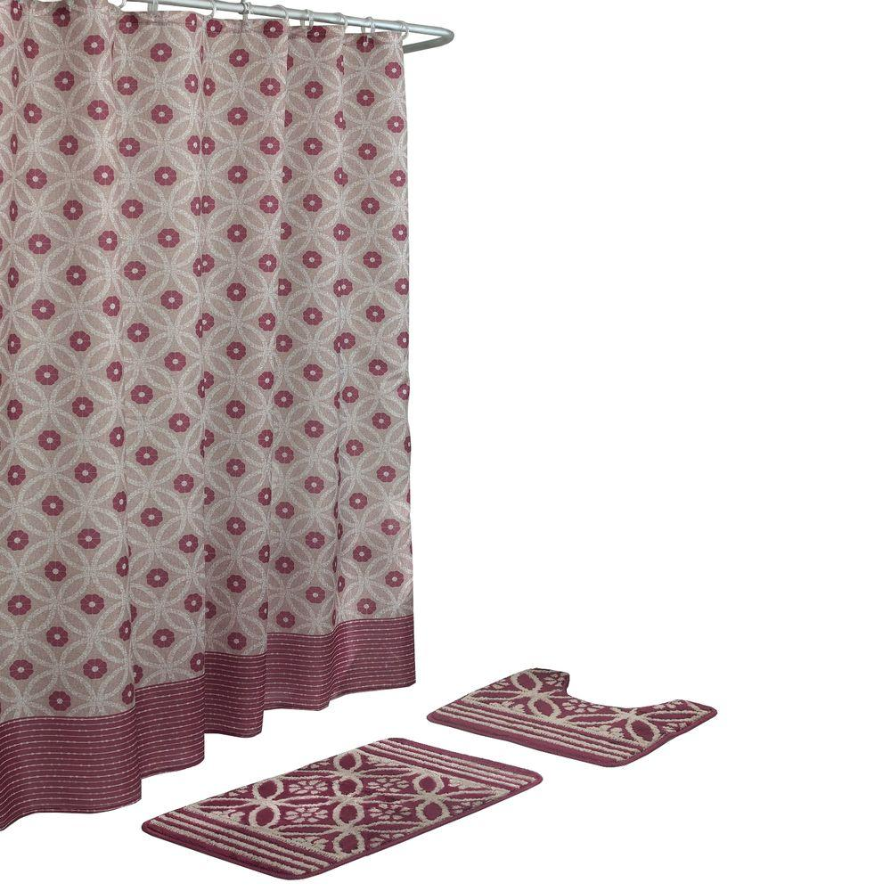 Hartford Barn Red Linen 15 Piece Bath Rug And Shower Curtain Set
