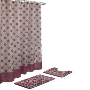 Bath Fusion Hartford Barn Red/Linen 15-Piece Bath Rug and Shower Curtain Set by Bath Fusion