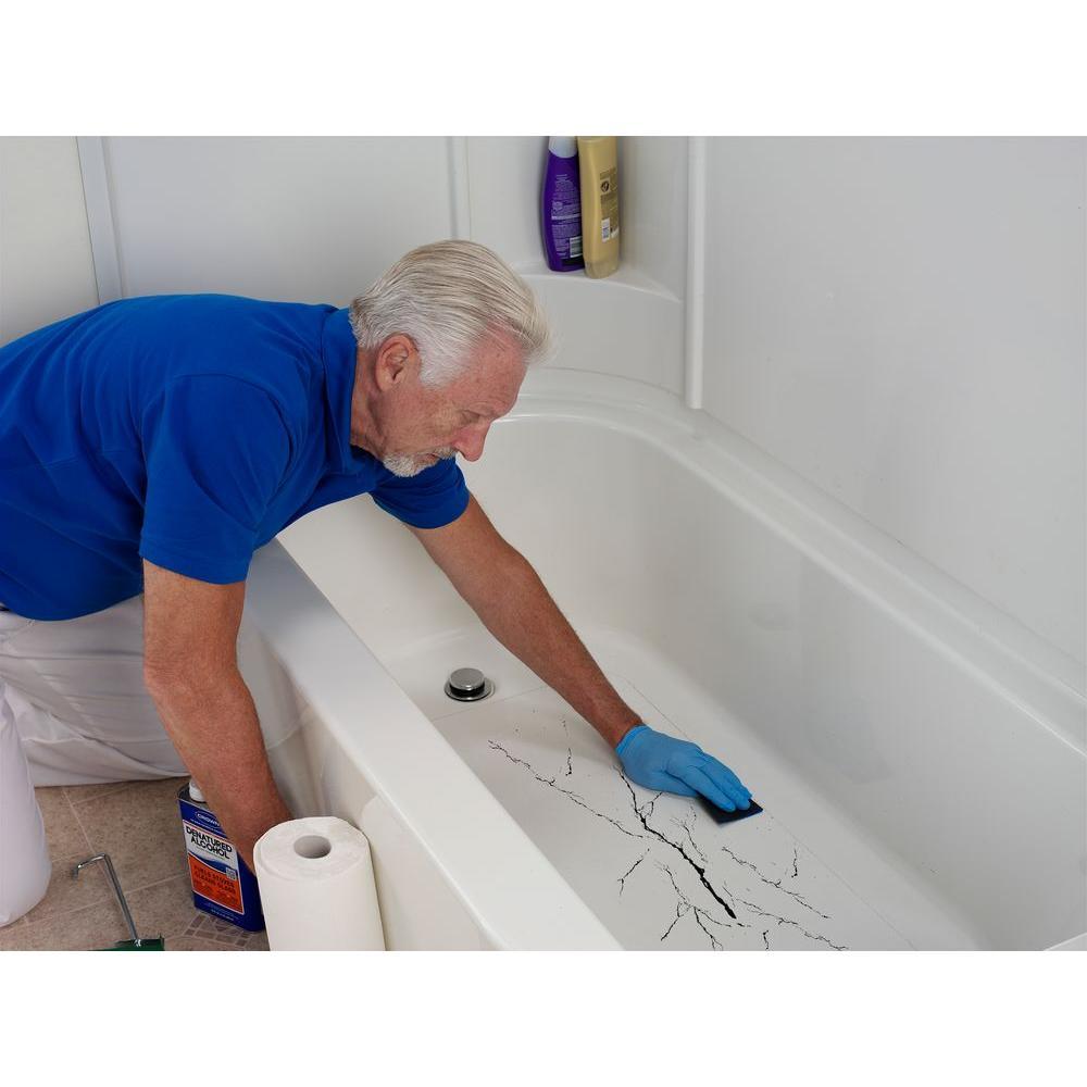 Diy Bathtub Floor Repair White 16 X 36in Crack Leaky Tub