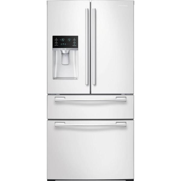 33 in. W 24.73 cu. ft. 4-Door French Door Refrigerator in White