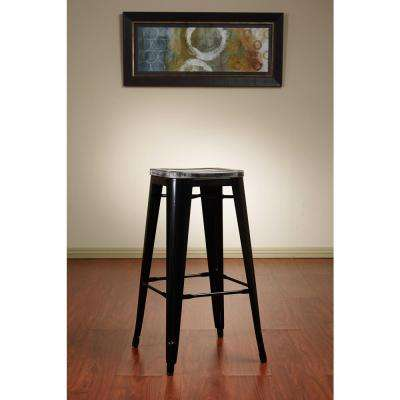 Bristow 30 in. Antique Metal Barstool withVintage Wood Seat in Black Frame and Ash Crazy Horse Seat (2-Pack)