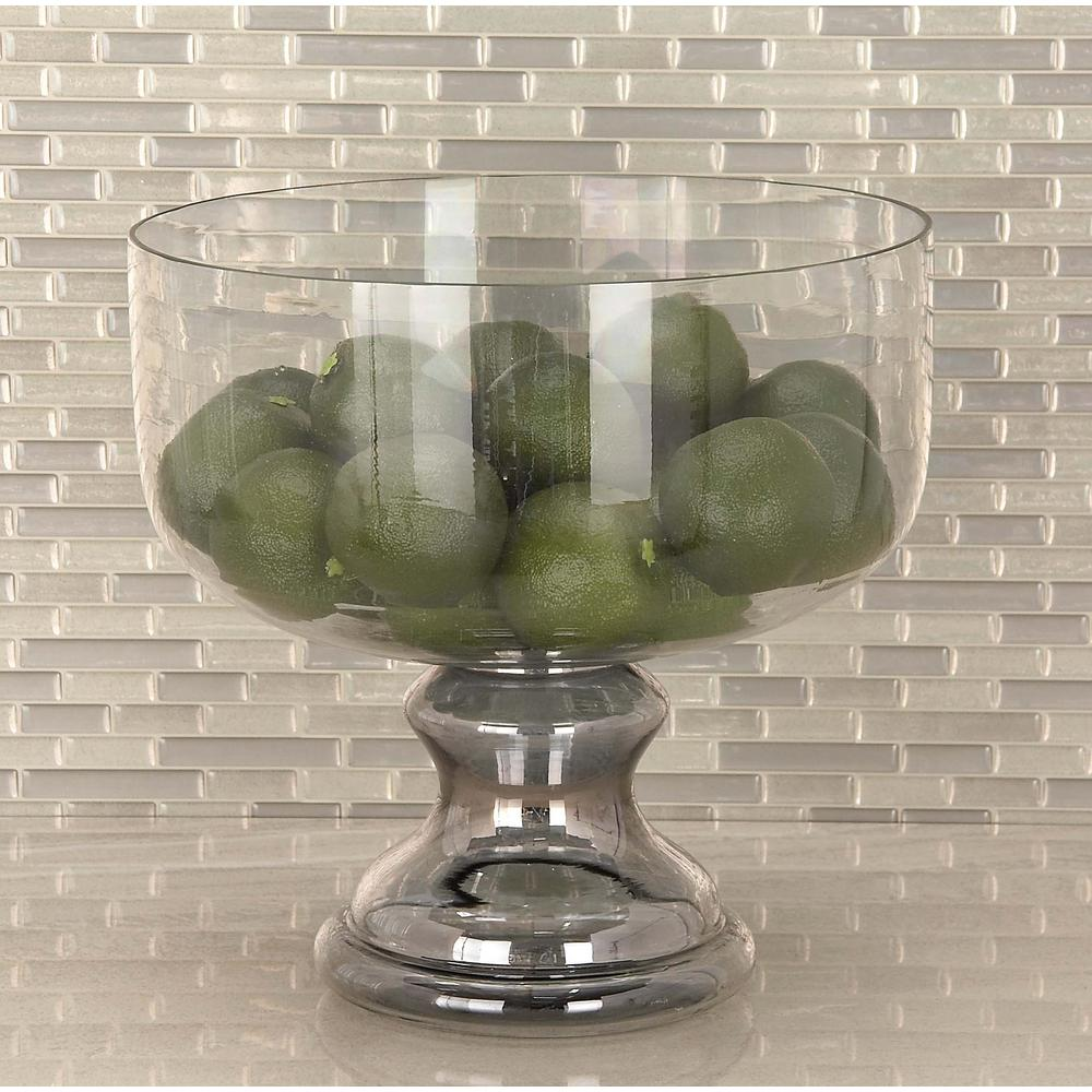 Litton Lane Clear Glass Pedestal Bowl Candle Holder