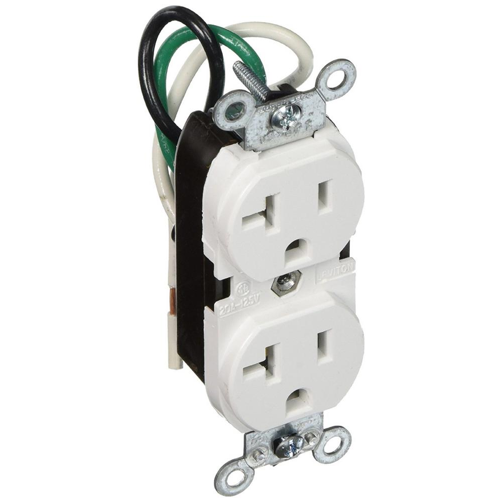 Leviton 20 Amp Commercial Grade Duplex Outlet with Leads, White-5340 ...