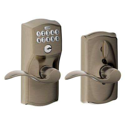Accent Antique Pewter Keypad Electronic Door Lever With Camelot Trim  Featuring Flex Lock