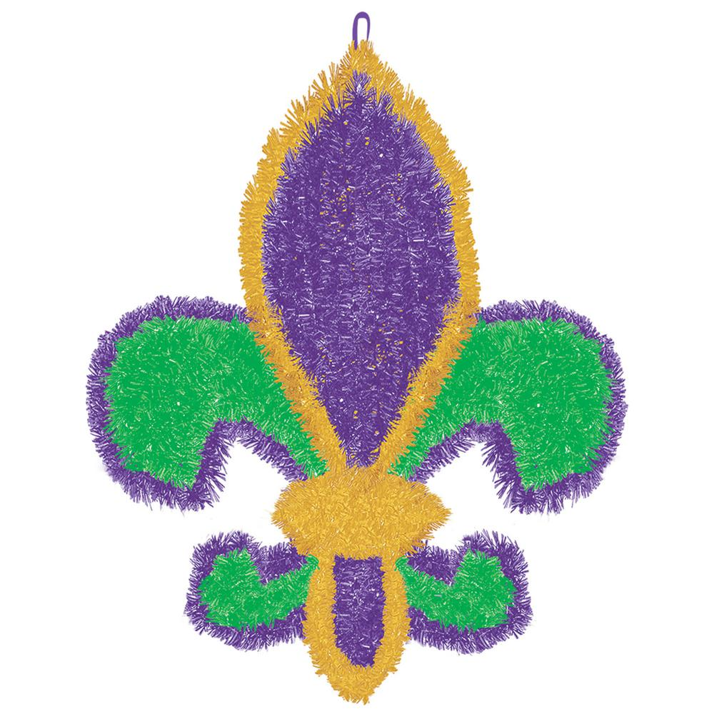 Amscan 19.5 in. Mardi Gras Green, Purple and Gold Tinsel Fleur de Lis Decoration (2-Pack) Get your Mardi Gras groove on with these small Fleur de Lis cutouts on glossy paper. Transform any room in no time with these Fleur de Lis cutouts. Gold Fleur de Lis icons pop off of a purple background. Pink and green beads ring the die cut edges, making this decoration a perfect paste-up for Mardi Gras.