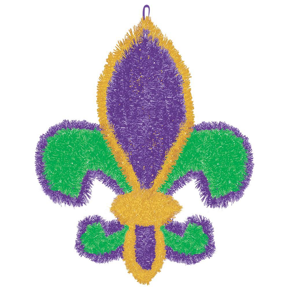 19.5 in. Mardi Gras Green, Purple and Gold Tinsel Fleur de Lis Decoration (2-Pack)