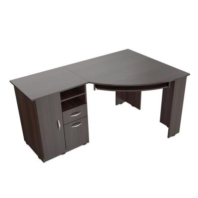 59.45 in. Espresso Wengue Corner 2 -Drawer Computer Desk with Keyboard Tray