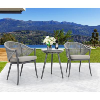 Stationary Aluminum and Woven Rope Outdoor Arm Dining Chair with Removable Grey Cushions (2-Pack)