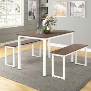 Harper & Bright Designs 3-Piece Dining Table Set w/2-Benches