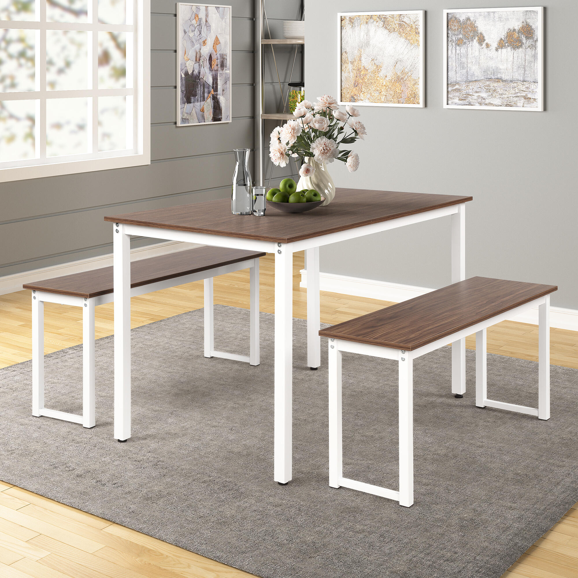 Harper & Bright 3-Piece Dining Table Set with 2 Benches