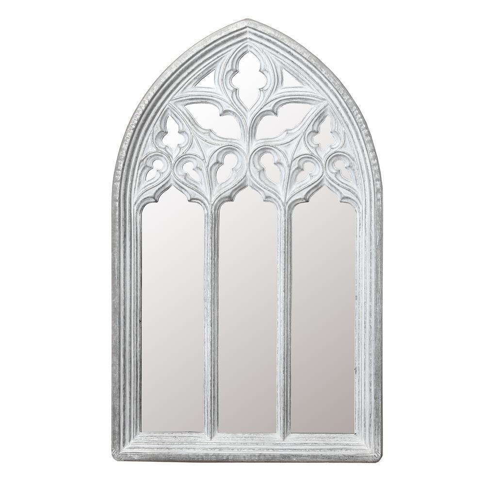 Medium Arch White Modern Mirror (33.5 in. H x 20.5 in. W)