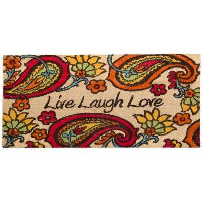 Nicole Miller Patio Fremont Paisley Live Laugh 22 in. x 47 in. Door Mat