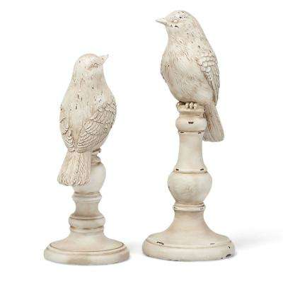 Decorative White Resin Bird Statuaries with Round Base and Rustic Accents (Set of 2)