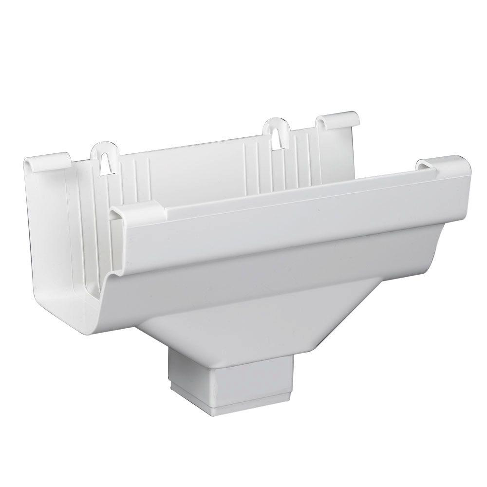 3 in. x 4 in. Vinyl White Traditional Gutter Drop Outlet