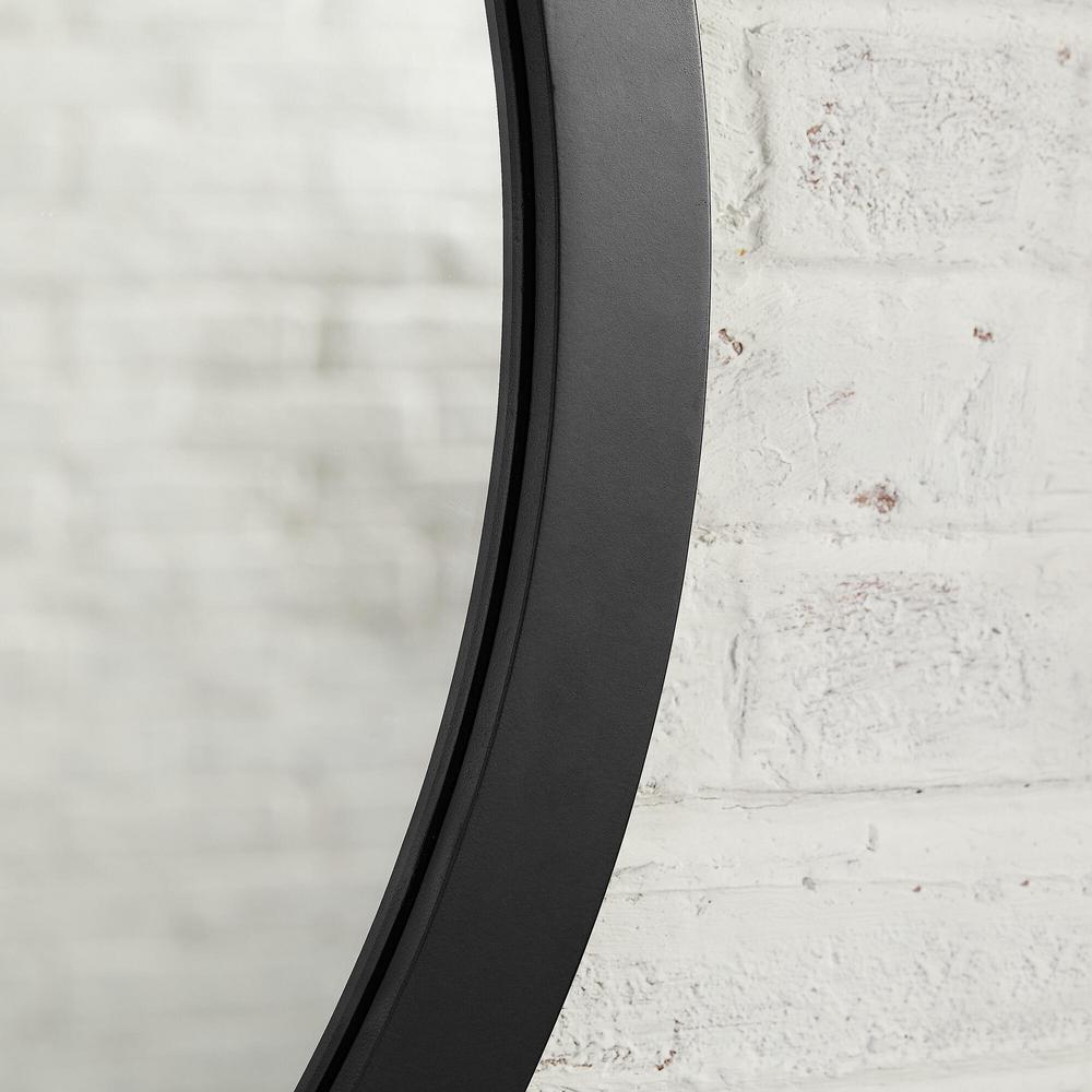 Medium Round Black Classic Accent Mirror with Leather Strap (30 in. Diameter)