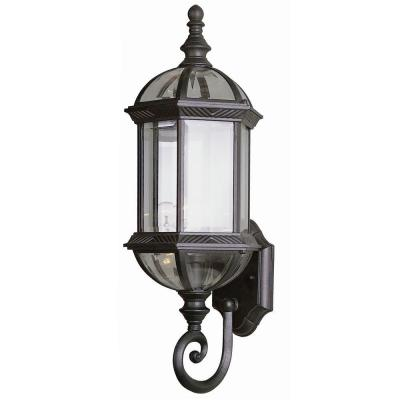 Cabernet Collection 1-Light Outdoor Rust Coach Lantern Sconce with Clear Beveled Shade