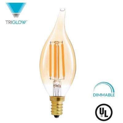 40-Watt Equivalent B11 Dimmable Flame Tip Filament Glass LED Light Bulb Amber