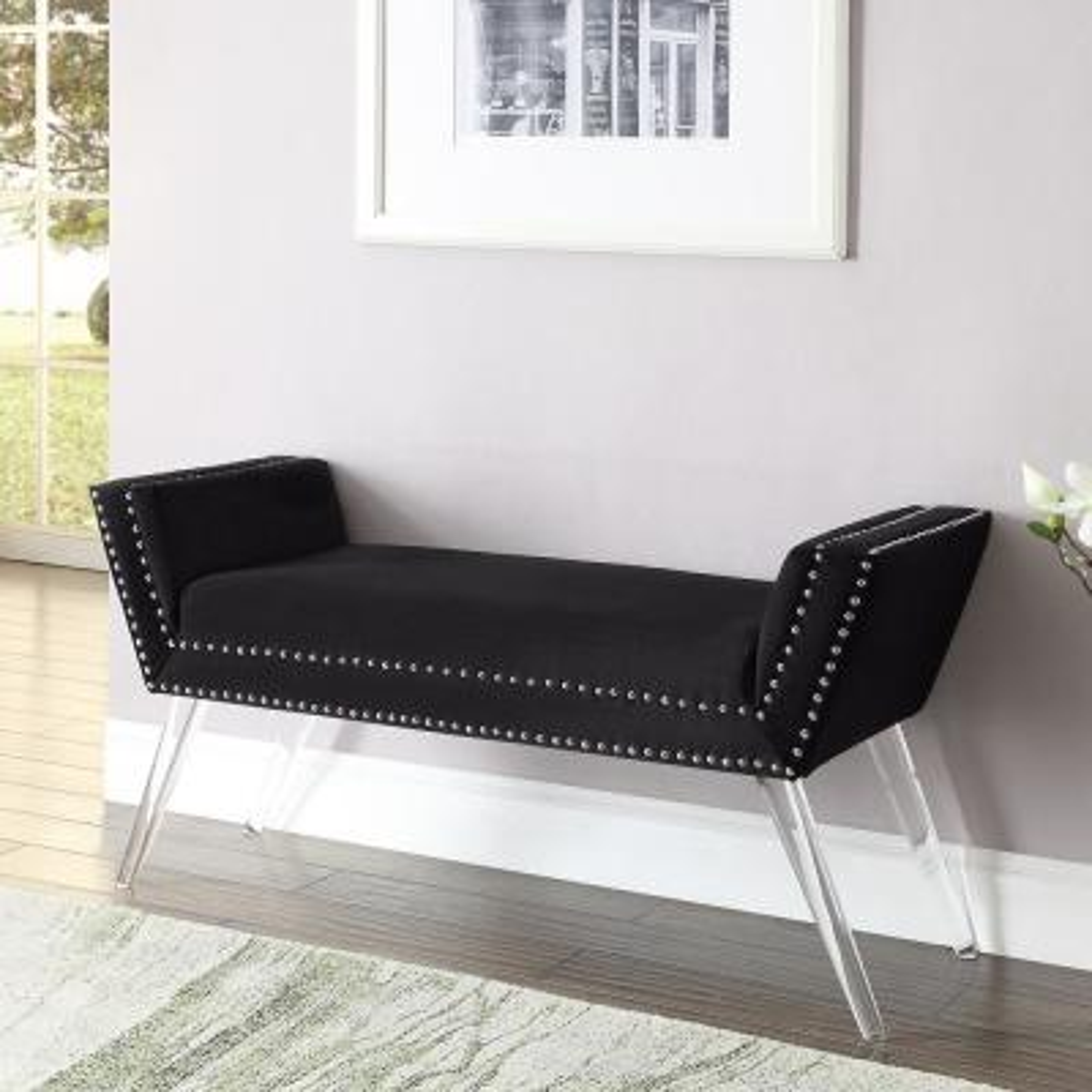 Lexi Black Velvet Ottoman Bench Nailhead Trim Acrylic Legs