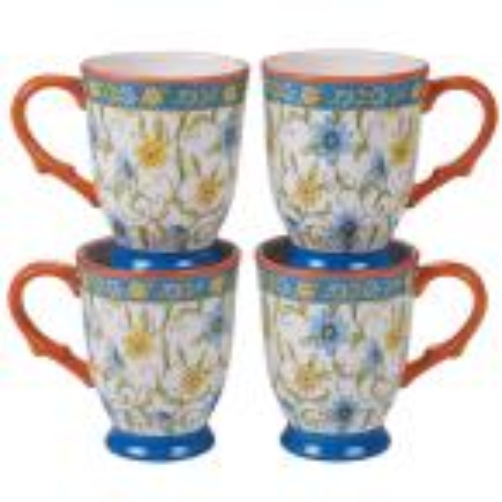 Torino 4-Piece Country/Cottage Multi-Colored Ceramic 18 oz. Mug Set (Service for 4)