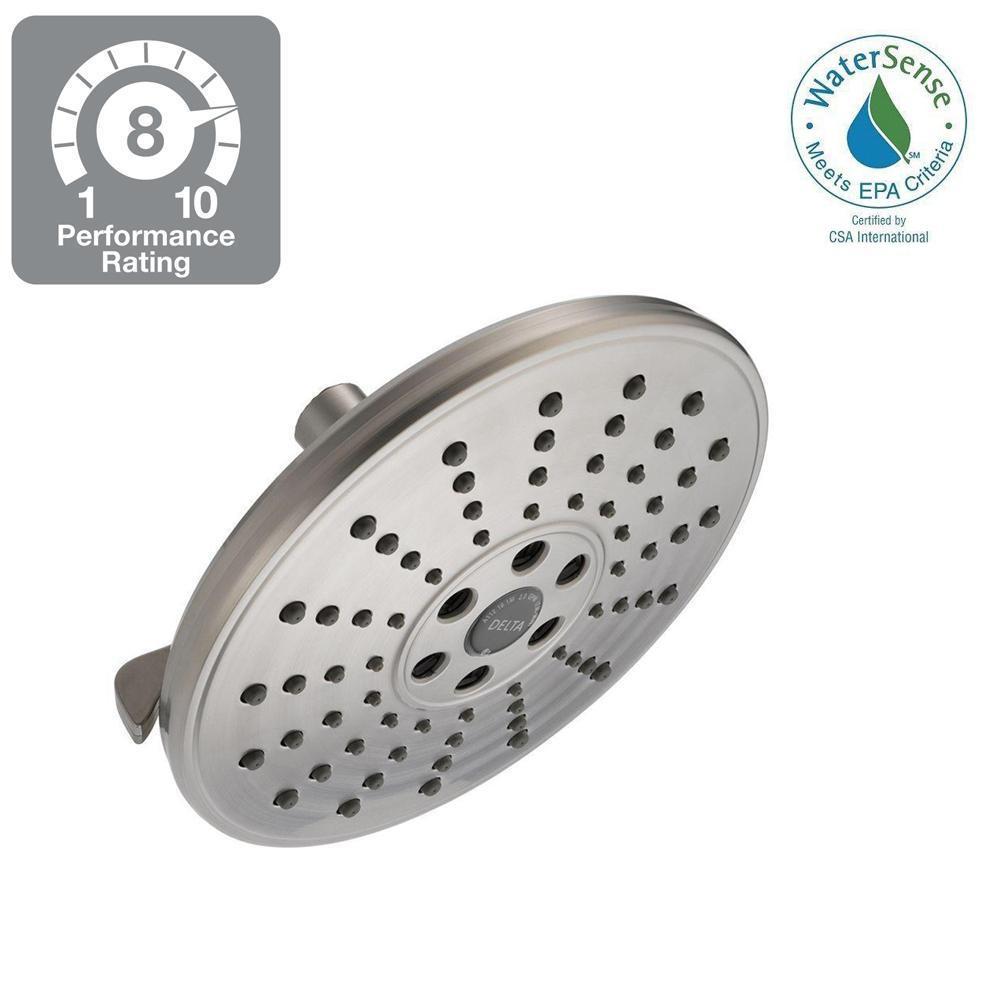 3-Spray 7-11/16 in. H2Okinetic Showerhead in SpotShield Brushed Nickel