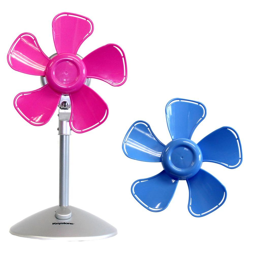 Flower Personal Fan With Interchangeable Blades In Blue And