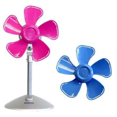 10 in. Flower Personal Fan with Interchangeable Blades in Blue and Pink