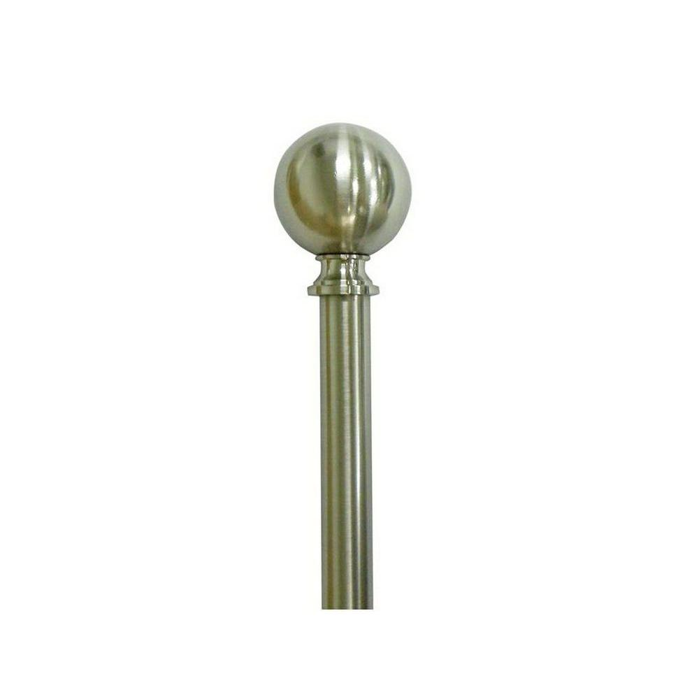 Home Decorators Collection 66 in. - 120 in. Telescoping 3/4 in. Sphere Finial Single Curtain Rod Kit in Brushed Nickel