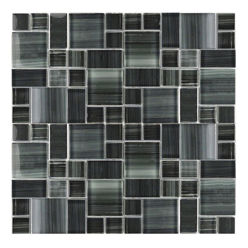 Gray Mosaic 12 in. x 12 in. Blend Glass Mesh Mounted