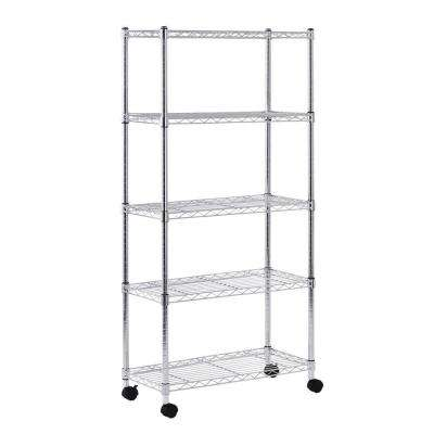 60 in. H x 30 in. W x 14 in. D 5 Shelf Mobile Wire Commercial Shelving Unit in Gray