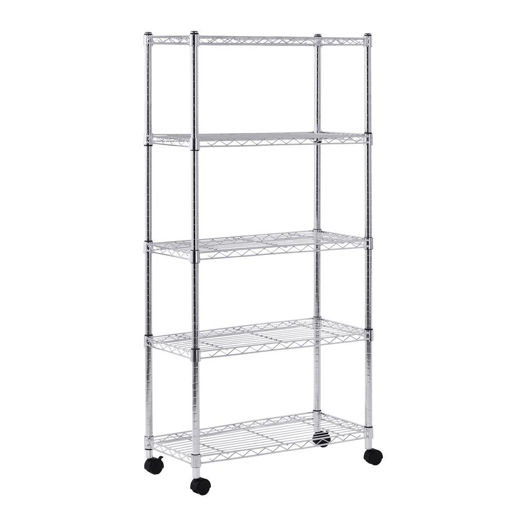 sandusky 60 in  h x 30 in  w x 14 in  d 5 shelf mobile wire commercial shelving unit in gray