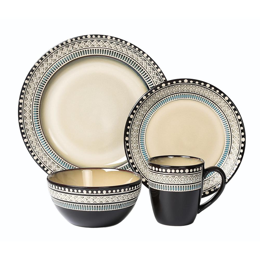 16-Piece Casual Neutral and Blue Stoneware Dinnerware Set (Service for 4)