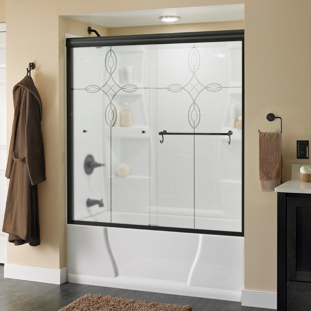 Portman 60 in. x 58-1/8 in. Semi-Frameless Sliding Bathtub Door in Bronze with Tranquility Glass