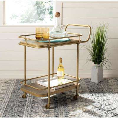 Gaia 2-Tier Rustic Oak/Gold Bar Cart