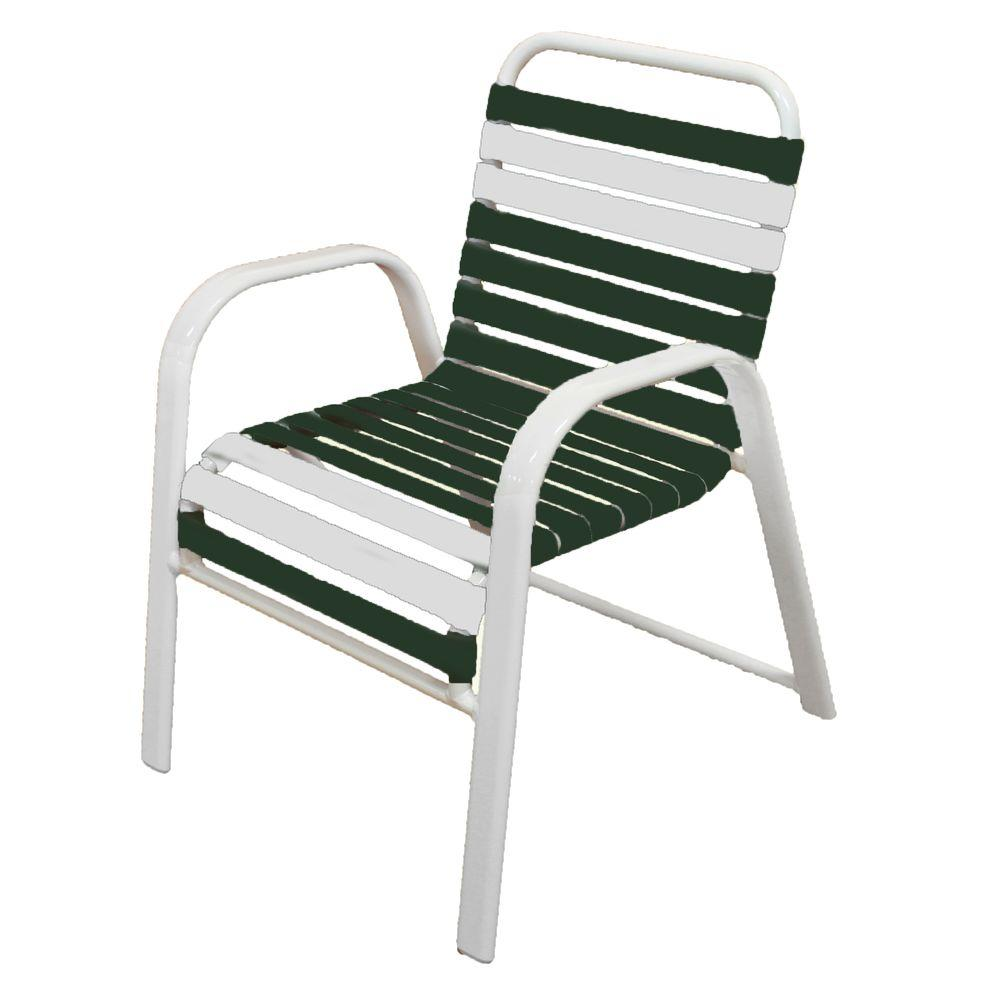 Marco Island White Commercial Grade Aluminum Patio Dining Chair With Green And Vinyl Straps