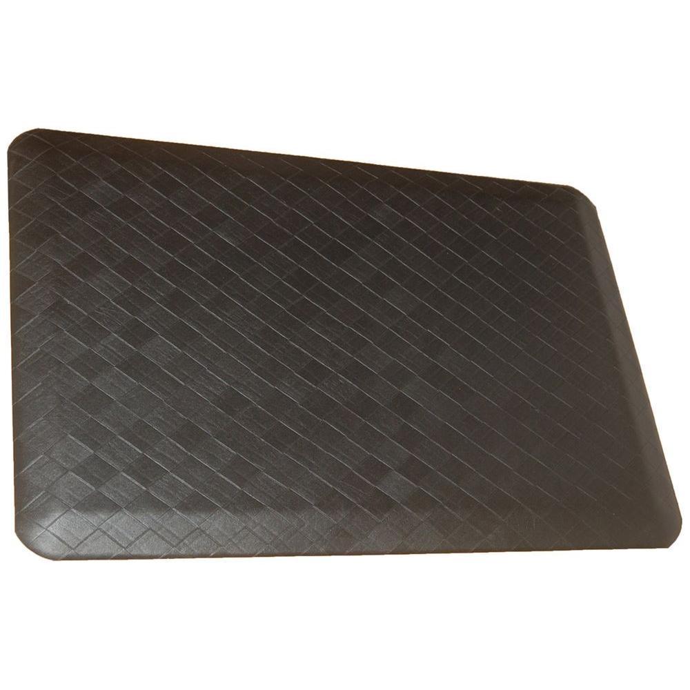 Rhino Anti-Fatigue Mats Housewares Navaho Plait High-Handed Black 24 in. x 72 in. Poly-Blend Decorative Anti-Fatigue Mat