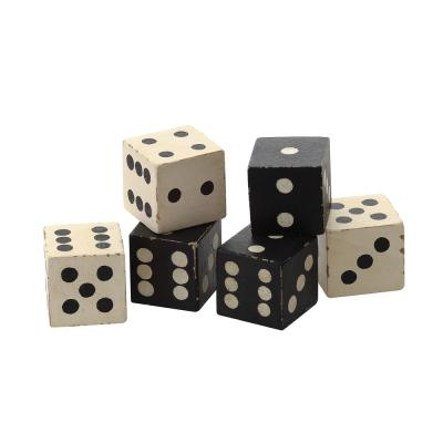 Black and White Square Hand Carved Mango Wood Dice (Set of 6)