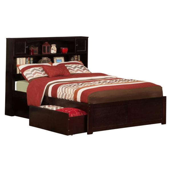 Atlantic Furniture Newport Espresso Full Platform Bed With Flat Panel Foot Board And 2 Urban