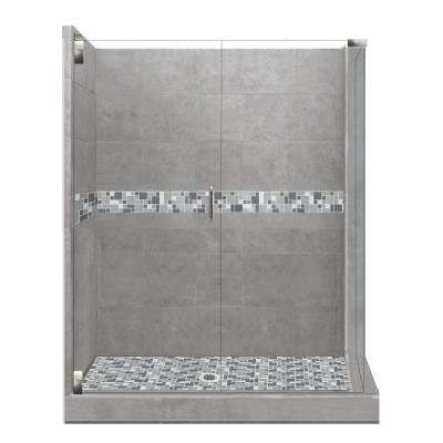Newport Grand Hinged 32 in. x 36 in. x 80 in. Left-Hand Corner Shower Kit in Wet Cement and Satin Nickel Hardware